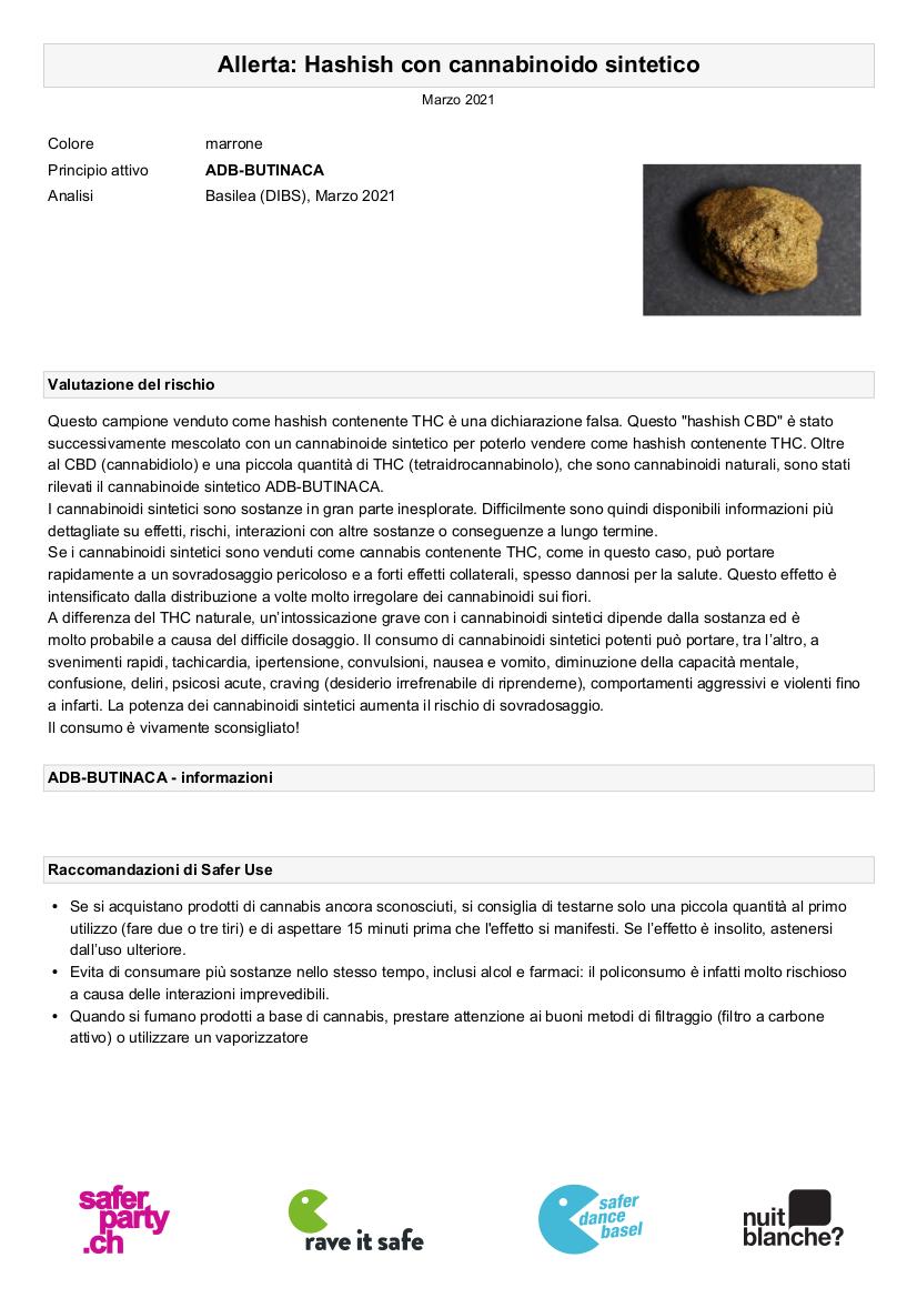 Hashish con Cannabinoide Sintetico analizzato a Basilea, Svizzera